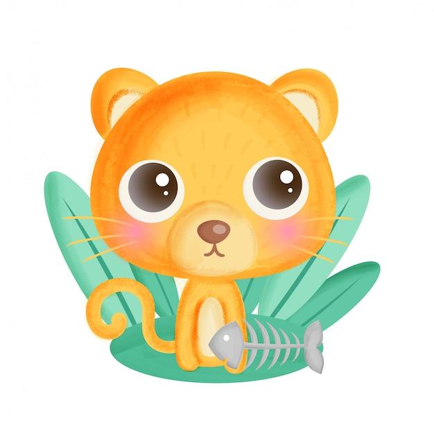 Милый мультяшный кот с рыбьей костью.