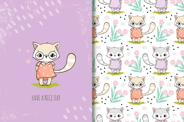 Cute cartoon cat with flowers and seamless pattern for kids