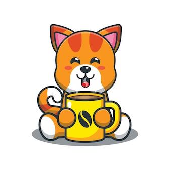 ホットコーヒーとかわいい漫画の猫