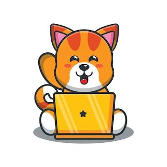 ノートパソコンとかわいい漫画の猫