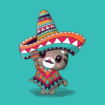 Милый мультяшный кот в мексиканской шляпе. синко де майо