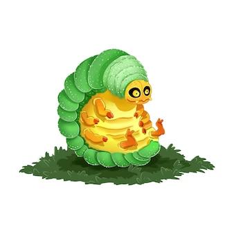 かわいい漫画の幼虫のカラフルなイラスト