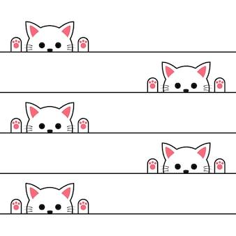 かわいい漫画の猫のシームレスなパターン