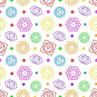 Cute cartoon chakras yantras seamless pattern. yoga pattern.