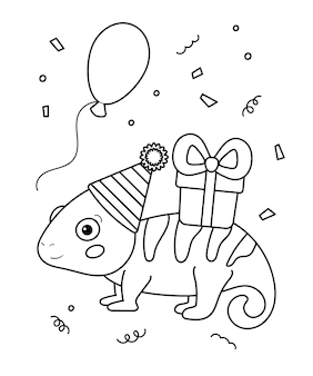 Cute cartoon chameleon with gift and balloon. happy birthday coloring page for children.