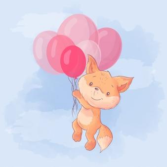 風船で飛んでかわいい漫画あんず。水彩イラスト
