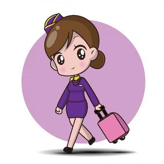 Cute cartoon character air hostess.