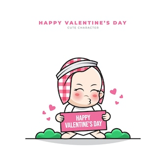 Cute cartoon character of arab baby holding happy valentine's greetings