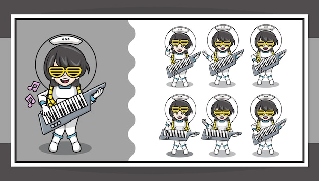 Cute cartoon character of astronaut girl playing piano guitar with step by step animation