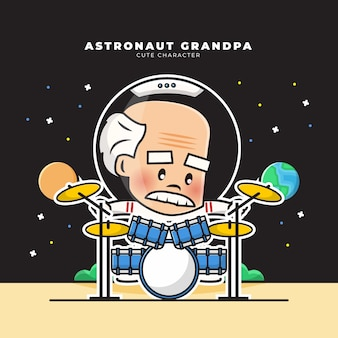 Cute cartoon character of astronaut grandpa was playing the drums
