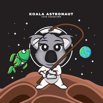 Cute cartoon character of baby astronaut koala is fishing