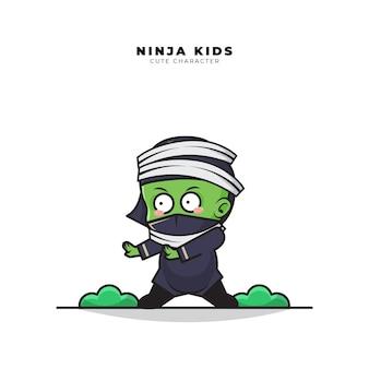 Cute cartoon character of baby ninja mummy