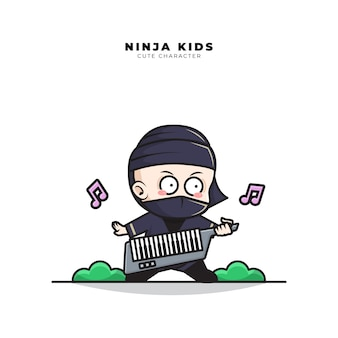 Cute cartoon character of baby ninja playing keyboard guitar piano