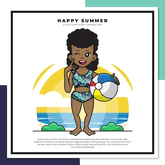 Cute cartoon character of black girl is holding ball on the beach with happy summer greetings