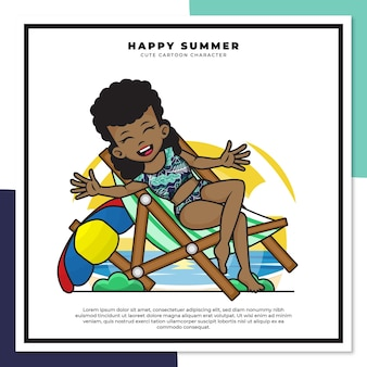 Cute cartoon character of black girl was relaxing on the beach with happy summer greetings