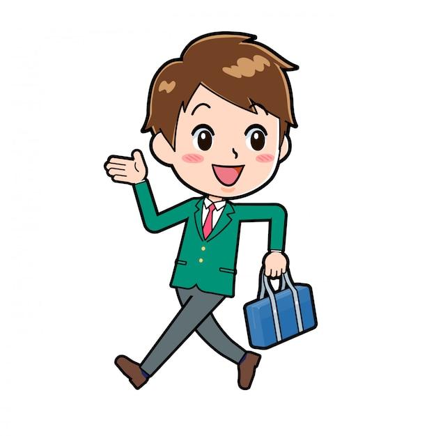 귀여운 만화 캐릭터 소년, 뒤로 걷기