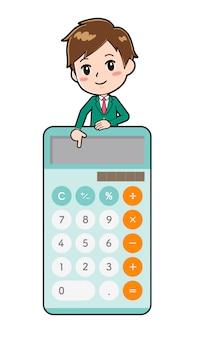 Милый мультипликационный персонаж мальчик, калькулятор вниз