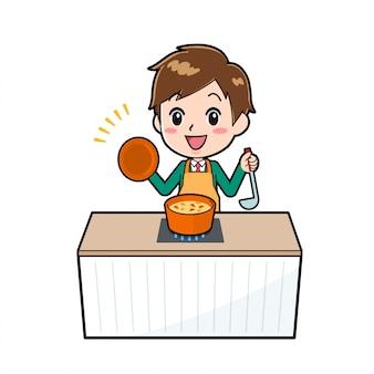 Cute cartoon character boy, cook stew