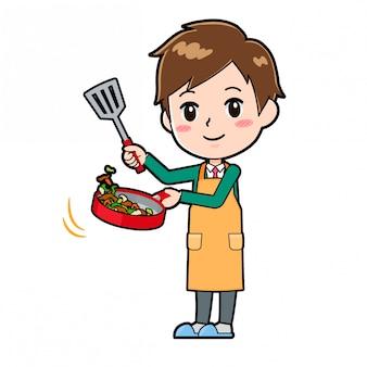 Cute cartoon character boy, cook stir fried