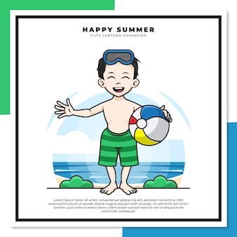 Cute cartoon character of boy is holding ball on the beach with happy summer greetings