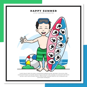 Cute cartoon character of boy is holding surfing board on the beach with happy summer greetings