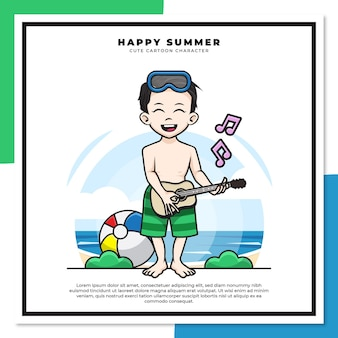 Cute cartoon character of boy is playing guitar ukulele on the beach with happy summer greetings