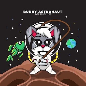 Cute cartoon character of bunny astronaut is fishing