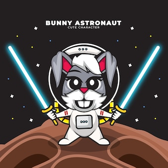 Cute cartoon character of bunny astronaut is holding two light saber