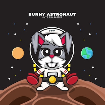 Cute cartoon character of bunny astronaut wearing boxing gloves and champion belt Premium Vector