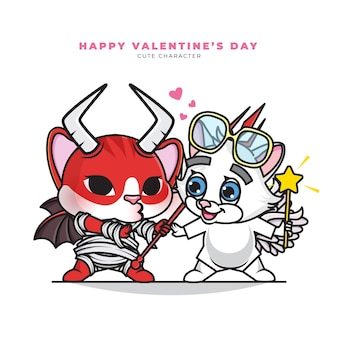 Cute cartoon character of couple devil cat and angel cat
