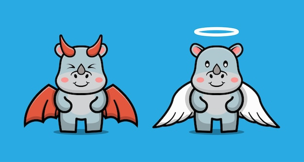 Cute cartoon character of couple devil rhino and angel rhino