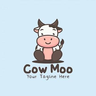Cute cartoon character cow mascot logo