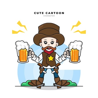 Cute cartoon character of cowboy holding two beers