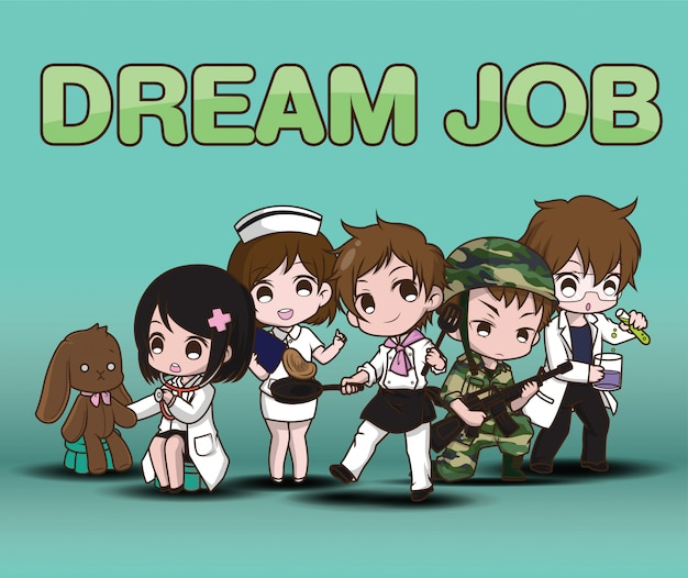 Cute cartoon character dream job.