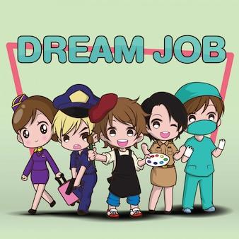 Cute cartoon character dream job.