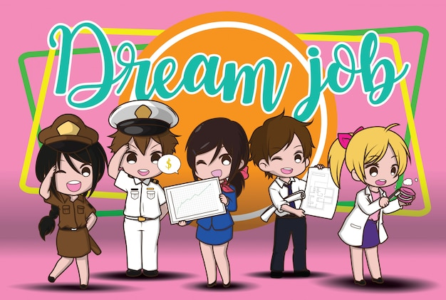 Cute cartoon character dream job