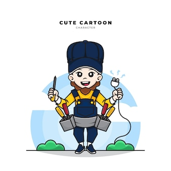 Cute cartoon character of electrical worker holding screwdrivers and plug wires