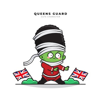 Cute cartoon character of english queens guard role as a mummy