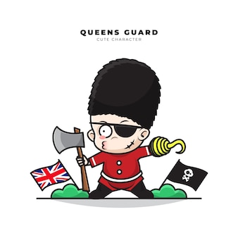 Cute cartoon character of english queens guard role as a pirate and wielding an ax