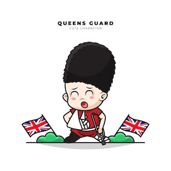 Cute cartoon character of english queens guard with a gesture of fractured arm and leg