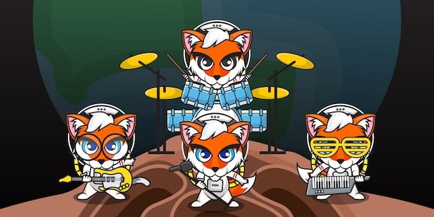 Cute cartoon character of fox astronaut is playing music in a band group