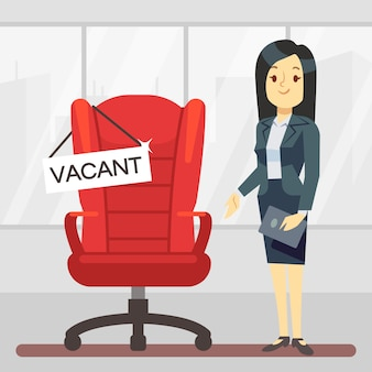 Cute cartoon character hr manager and empty boss chair