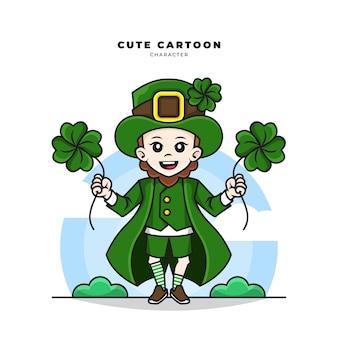 Cute cartoon character of leprechaun st patricks day concept holding lucky clover leaf