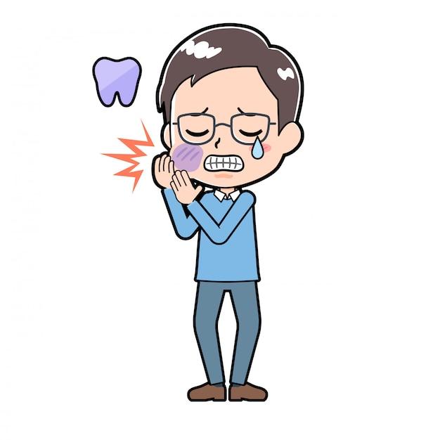 Милый мультипликационный персонаж человек зубная боль