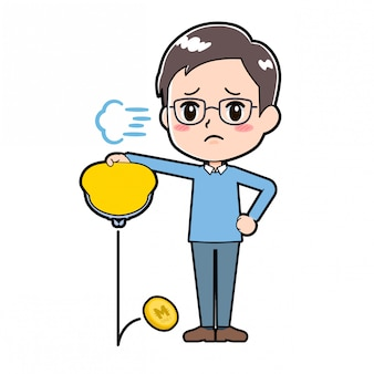 Cute cartoon character man wallet poor