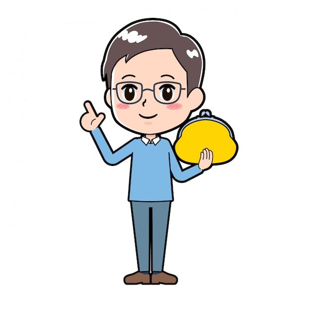 Cute cartoon character man wallet