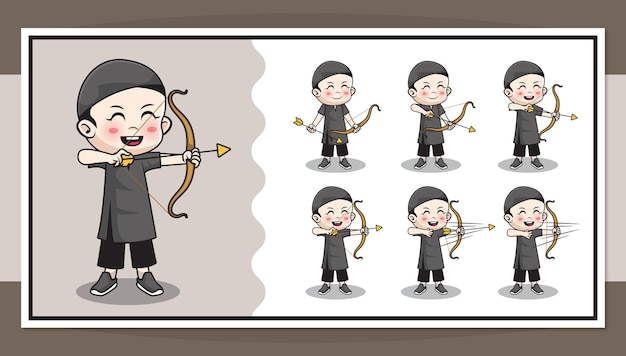 Cute cartoon character of muslim boy doing archery with step by step animation