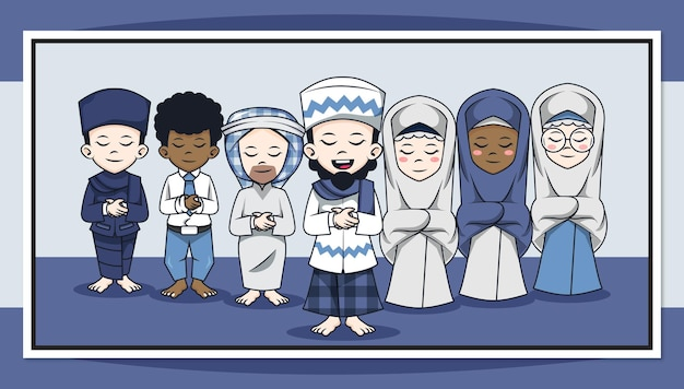 Cute cartoon character of muslims people pray in congregation