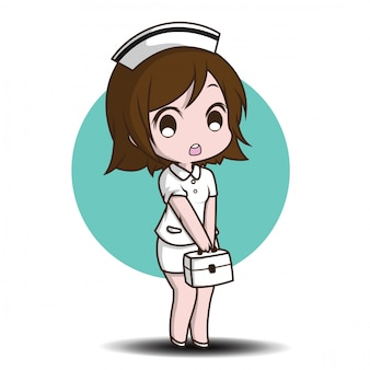Cute cartoon character nurse.