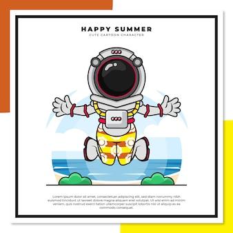 우주 비행사의 귀여운 만화 캐릭터는 행복한 여름 인사와 함께 해변에서 점프